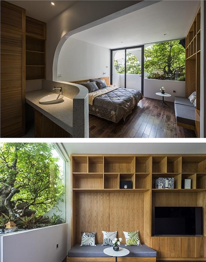 Thiết kế khuyết cạnh làm căn phòng trông bắt mắt, tinh tế hơn